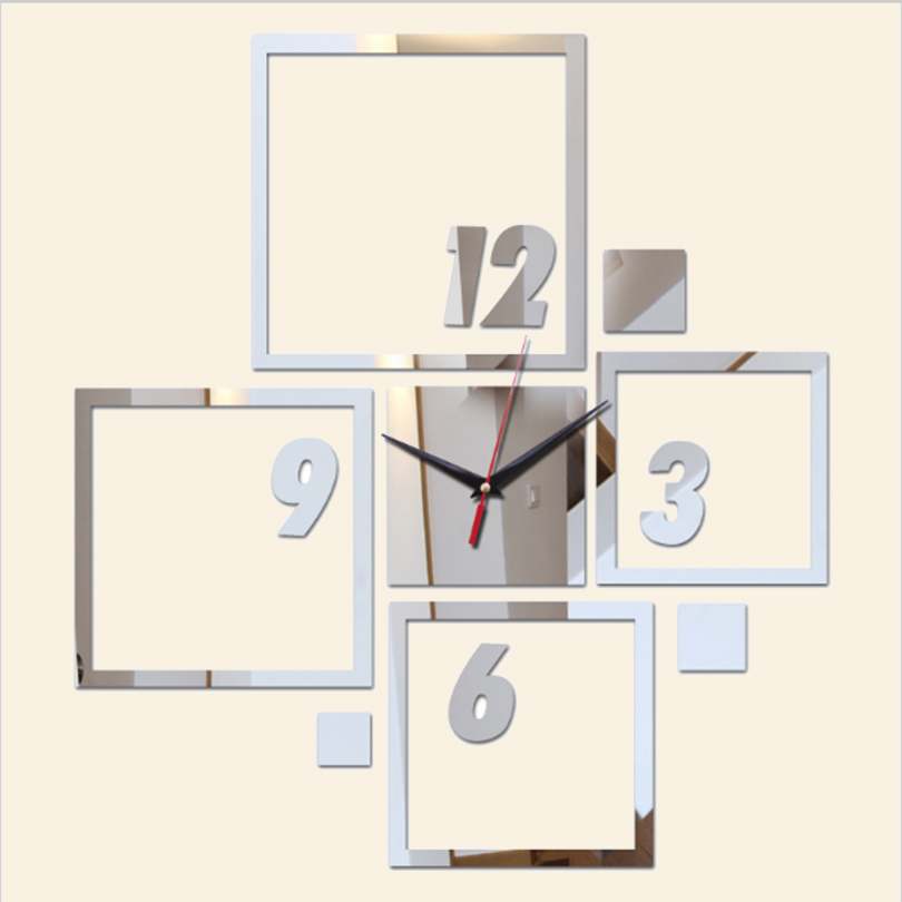 2017 direct selling stickers mirror art Acrylic clock modern design 3d wall watch large clocks home decoration diy crystal