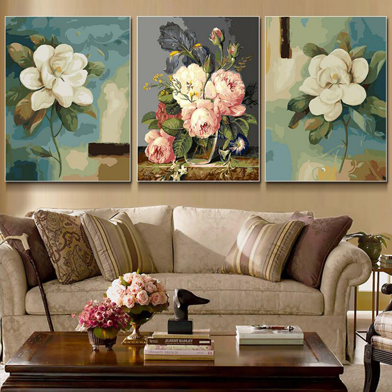 Home Decor Elegant Home Decor Diy: 3 Pcs/Set Elegant Flower Picture Painting By Numbers Modern Wall Art Picture DIY Hand Painted