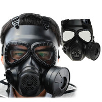 Tactical Plastic Mask Resin Full Face Gas Masks With Fan CS Airsoft Mask Black Color