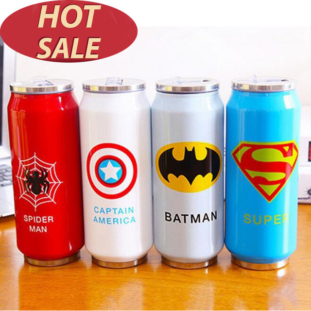 Heros League Termos Straw Thermos Travel Coffee Mugs 300 500ml Stainless Steel Beverage Can Water Tea Thermocup Garrafa Termica