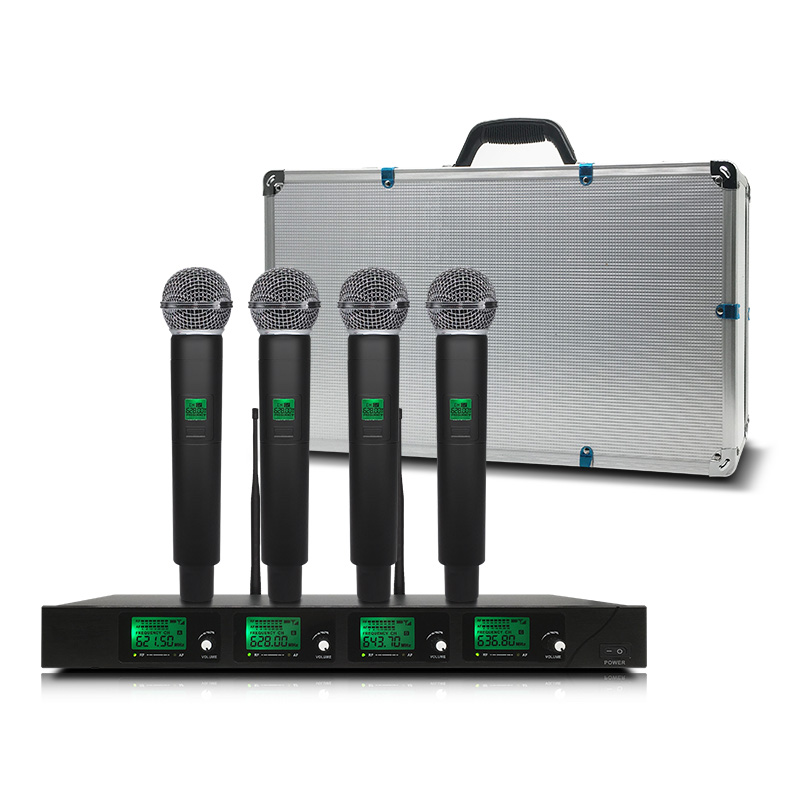 Professional Wireless Microphone System UHF4 Channel Handheld Lapel Condenser Headset Karaoke Mic Studio Sm58 For Meeting Room