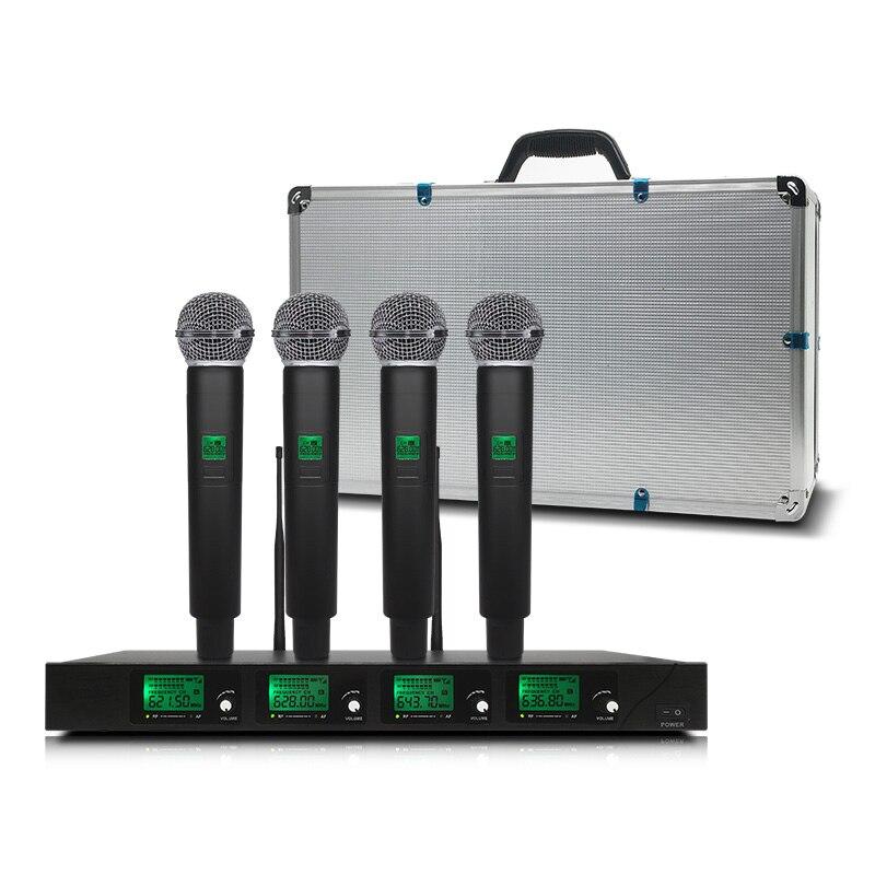 Système de microphone sans fil professionnel UHF4 canal poche revers condensateur casque karaoké micro studio sm58 pour salle de réunion