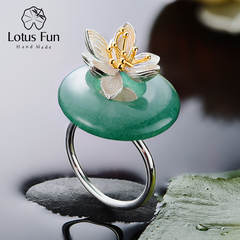 Lotus Fun Real 925 Sterling Silver Natural Green Pink Stone Creative Handmade Fine Jewelry Lotus Whispers Ring for Women Brincos fish stone lotus area rug