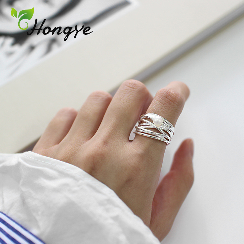 Hongye Silver 925 Ring Irregular Multi Layers Freshwater Pearl Ring Adjustable Finger Accessory Wedding Jewelry Gifts for Girls