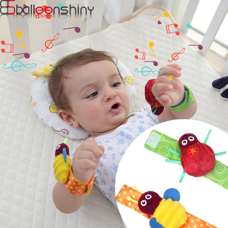 BalleenShiny 2pcs Baby Beetle Toys Bee Cartoon Wrist Rattle Bracelet Foot Rattles Wrist Plush Toy Baby Early Educational Toys