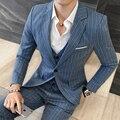2017 Latest Pant Brasão Designs Mens Listrado Blazers Ternos De Algodão Cáqui Azul 3 pcs conjunto Ternos sociais Vestido Plus Size 5XL Erkek Mont