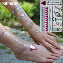 Metallic Gold Silver Body Temporary Tattoo Sexy Flash Tattoos Sticker On Foot Arm Shoulder Blue Color Conch Pattern YH096