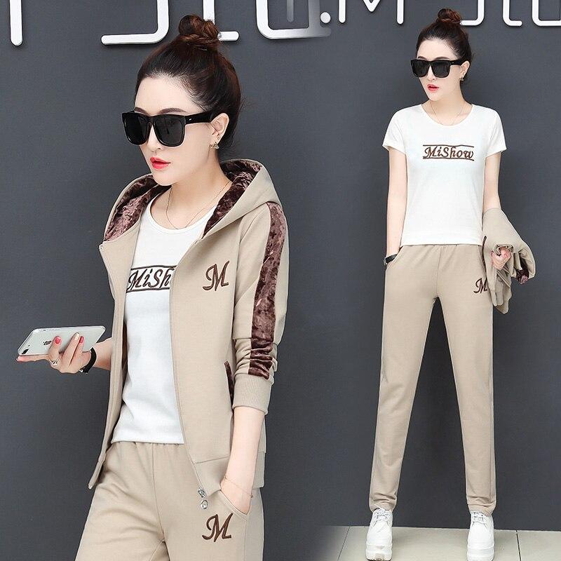 MISHOW Tracksuit 2pcs Women Set Hoodies Crop Top Sweatshirt+Side Stripe Pants Hooded 2 Pieces Sets Women Clothing Suits Female