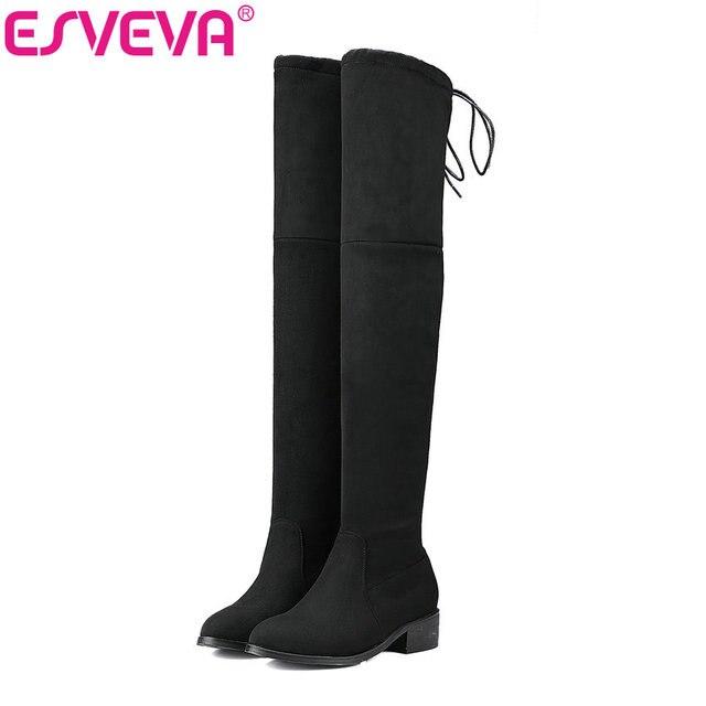 Esveva/2017 г. квадратный на низком каблуке женские ботфорты Сапоги и ботинки для девочек Дамская обувь стрейч Ткань Зимние мотоциклетные сапожки для женщин размеры 34–43