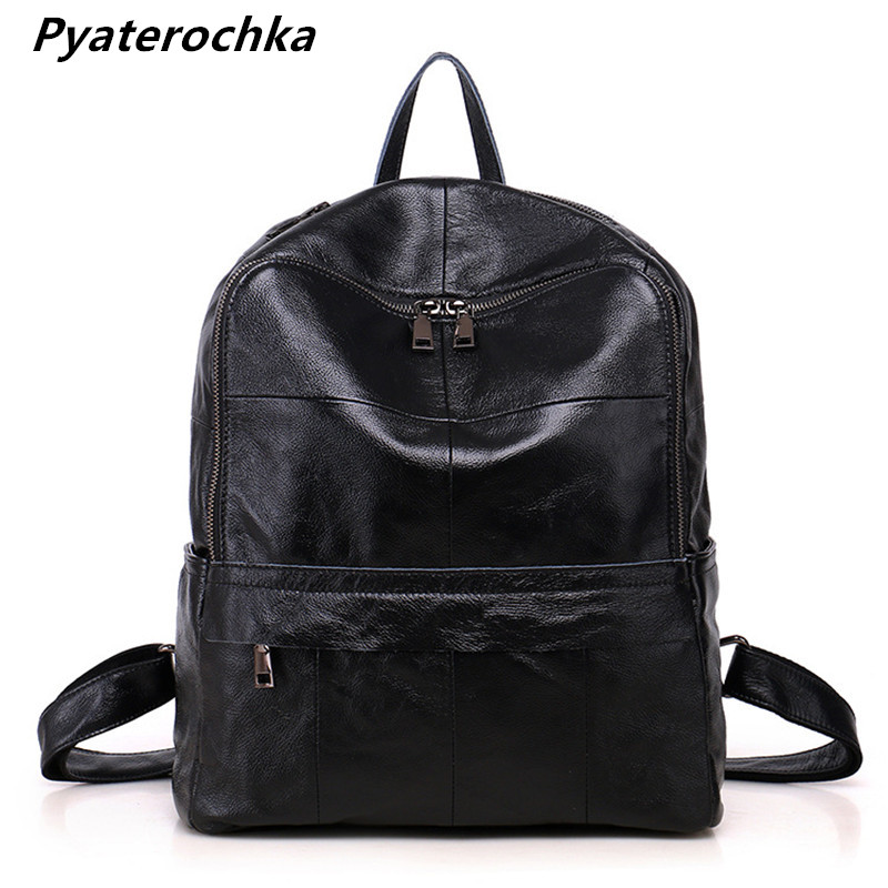 Pyaterochka Genuine Leather Backpack Women High Quality Fashion Korean Style Bag Pack Luxury Plaid Hand Bag 2018 Famous Brand twenty four women backpack real genuine leather back pack casual korean style lady travelling bag zipper luxury brand mochila
