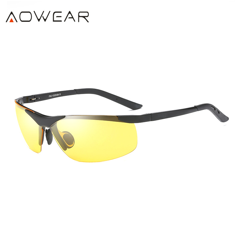 Men's Glasses Aowear Aluminum Night Driving Glasses Anti Glare Night Vision Driver Glasses Men Polarized Yellow Sunglasses High Quality Goggle