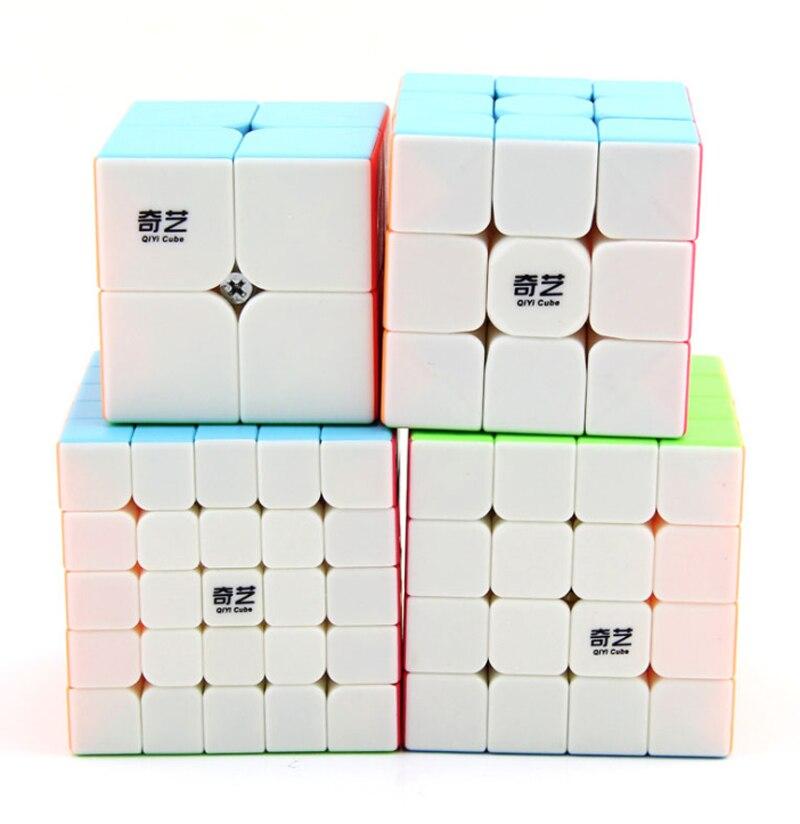 4 Pcs/set Qidi S 2x2 QiYi Warrior W 3x3 Stickerless Speed Cube QiYuan S 4x4 Colorful QiZheng S 5x5 Red Magic Cube Xmas Gift