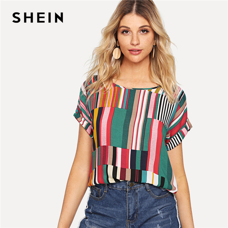 SHEIN Multicolor Mix Striped Print Rolled Up Tshirt Casual Loose Scoop Neck Colorblock T Shirt Women Summer Short Sleeve Tops
