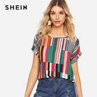Shein multicolorido mix listrado impressão enrolado até tshirt casual solto colher pescoço colorblock t camisa feminina verão manga curta topos