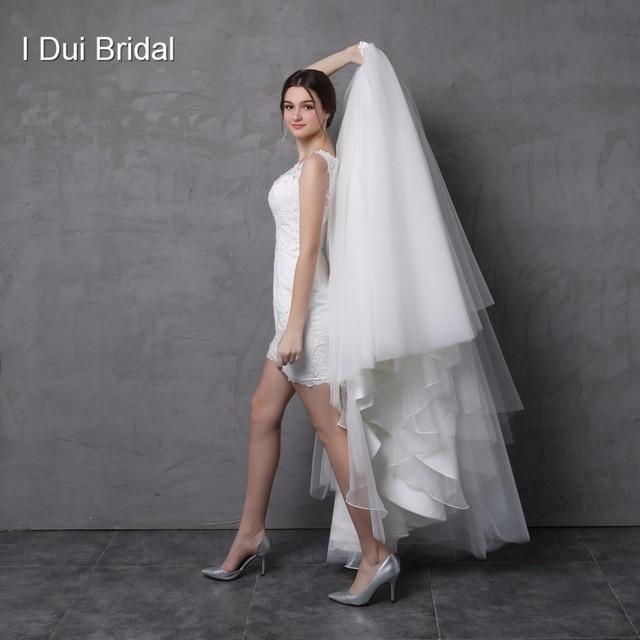 שמלת כלה עם נתיק חצאית אשליה תחרה חזרה שני דרך ארוך קצר במפעל מותאם אישית להפוך Vestidos Casamento