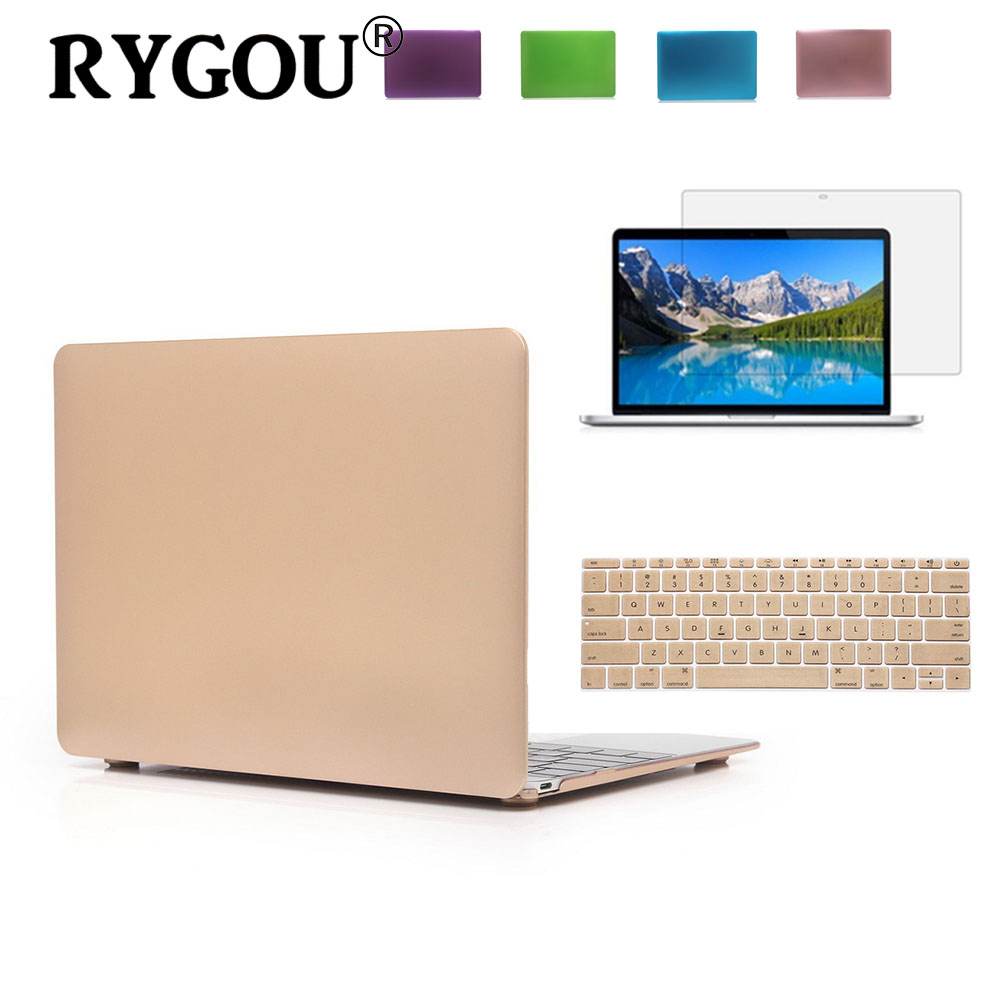 RYGOU Luxury Gold Silver Metallic Färg Finish Mattfodral För Macbook Air 11 13 tums Laptopväskor till Mac Book Pro Retina 13 15