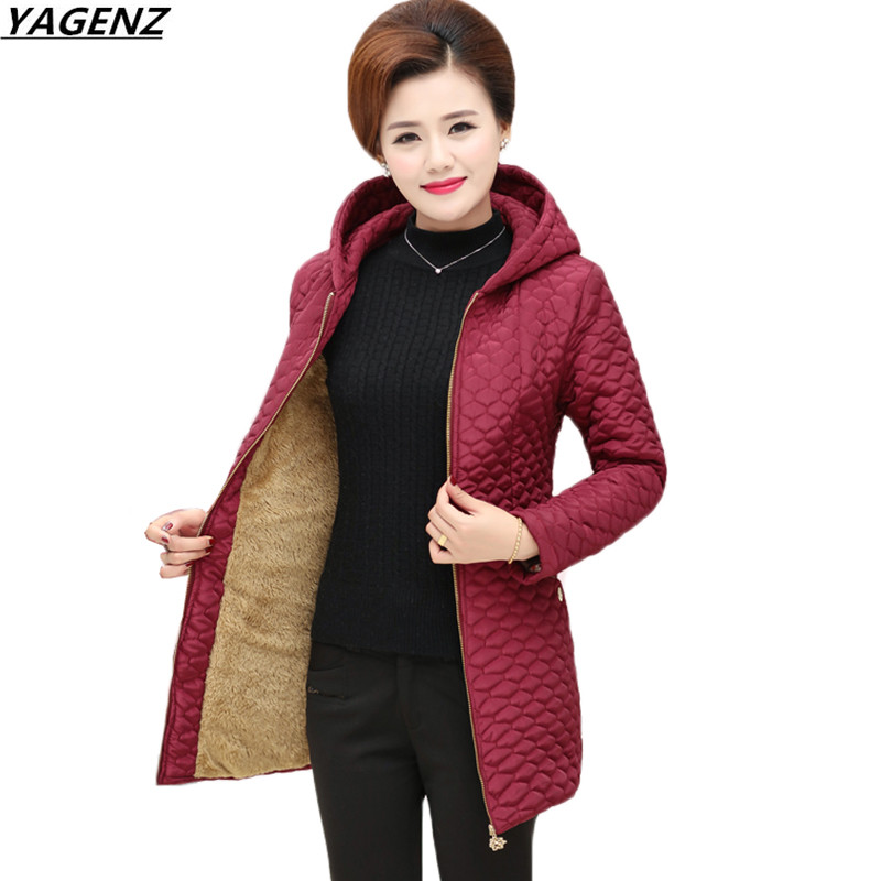 Winter Jackets Coats New Middle-aged Hooded Outerwear Women Parkas Add Flocking Cotton Jacket Warm Casual Large size Women Coat 100cm creative slim diy mesh bag for cosmetic makeup brush 12290
