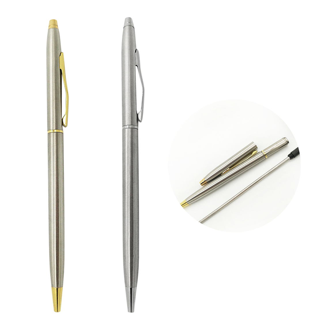 Loyal Fangnymph Stainless Steel Rotating Metal Ballpoint Pen Stationery Ballpen 0.7mm Black Pen Office & School Supplies Delicacies Loved By All Pens, Pencils & Writing Supplies