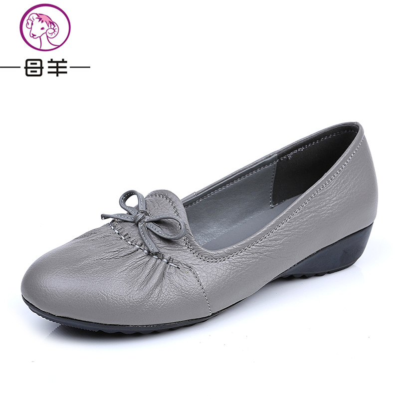 MUYANG 2018 Genuine Leather Flat Shoes Woman Loafers Female Solid - Women's Shoes