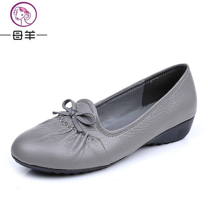 MUYANG 2018 Echt leer Platte schoenen Dames Loafers Vrouwelijk - Damesschoenen