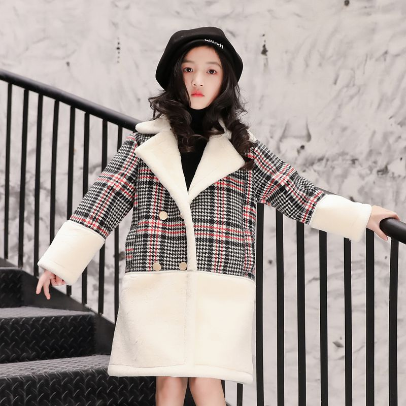 Girls wear jacket 2018 autumn and winter tide fan new product composite fur one long version double-breasted coat winter coat autumn and winter coat for women a new autumn winter coat for women