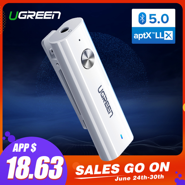 Ugreen Bluetooth 5.0 Receiver 3.5mm APTX LL AUX Adapter for Headphone Speaker Music Wireless Bluetooth 3.5 Jack Audio Receiver