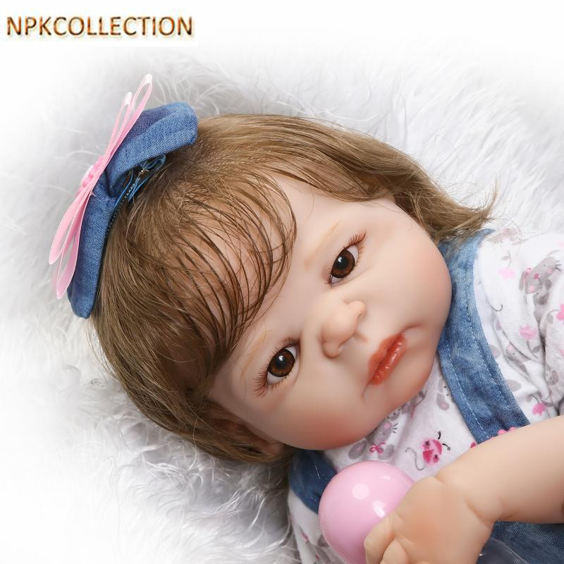 NPKCOLLECTION 52 CM Realistic Silicone Dolls Reborn Babies Girl Doll for Children New Year's Toys,21 Inch Baby Born Doll Oyuncak