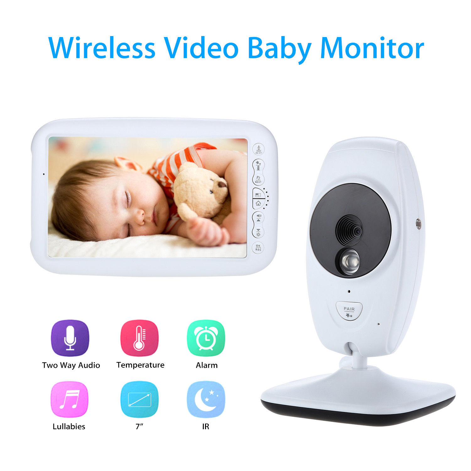Blueskysea SP870 7LCD Screen Baby Monitor Camera Wireless Digital Video CMOS Two Way Audio Speaker Temperature Detection Alarm aputure vs 1 v screen digital video monitor