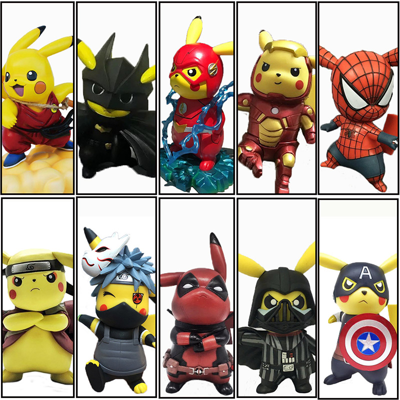 Original Boxed Funny Pikachu Cosplay Naruto Avengers Deadpool Spiderman Dragon Ball Mario Action Figures 14cm PVC Model Toy ice cream cart toy