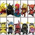 Original Boxed Funny Pikachu Cosplay Naruto Avengers Deadpool Spiderman Dragon Ball Mario Action Figures 14cm PVC Model Toy