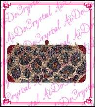 Aidocrystal fashion handmade brown metal clasp ladies handbag for party