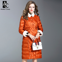 autumn winter woman outwear white duck down fill coat with pockets orange black dark green long coat white faux fur collar cuff