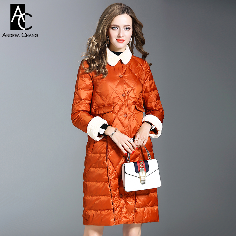 autumn winter woman outwear white duck down fill coat with pockets orange black dark green long coat white faux fur collar cuff woman 2016fw woman fashion patch bomber jacket with faux fur collar warm qulited lining side pockets