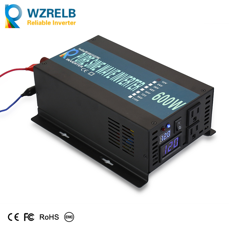 600W 12V 24V 48V DC to 110V 220V AC Full Power Peak Power 1200W Off Grid Pure Sine Wave Car Power Inverter