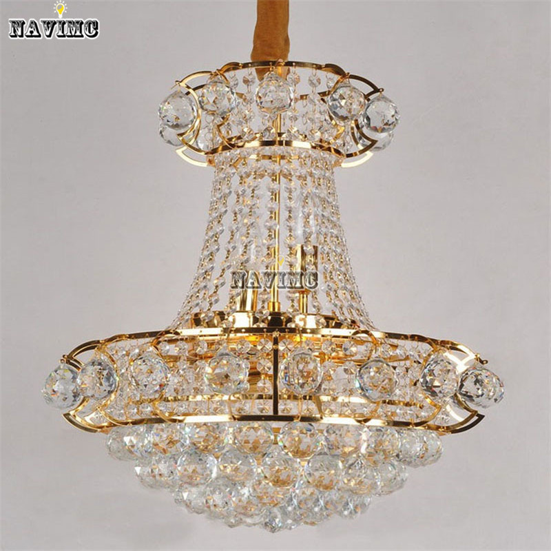 Luxury Big Europe Large Gold Luster Crystal Chandelier Light Fixture Classic Light Fitment for Hotel Lounge Decoratiion