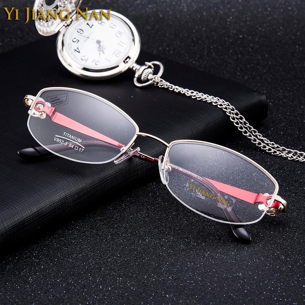 Linsen silber Mit Transparenten Jiang Reinem Diamant Titan Weibliche Gläser Marke Rosa Qualität Brillen Rosa Yi Mode Top Nan Z6wqqUT