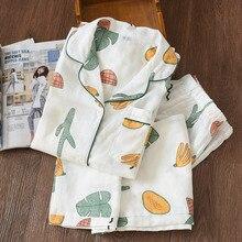 Pijamas femininos gaze, pijamas femininos de gaze de algodão e macios, com botão, manga comprida, pj, conjunto de pijama feminino de outono