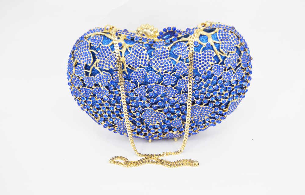 Emas biru clutch bag tas pesta wanita pochette Perempuan Purse wanita royal blue evening tas purse handbag SC310 kewanitaan