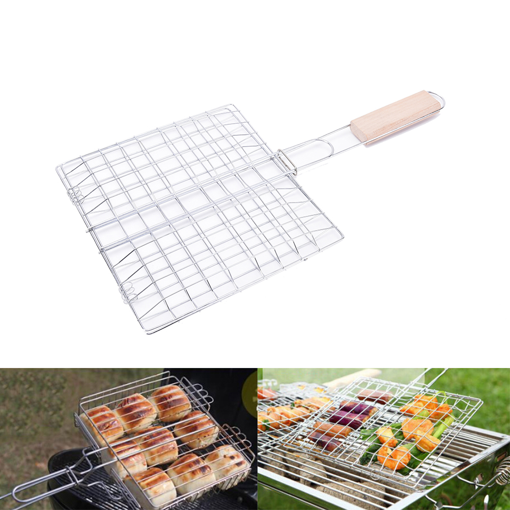 2017 New Barbecue Grilling Basket Grill BBQ Net Wooden Handle Steak Meat Fish Vegetable Hot Selling