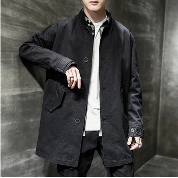 Mens Overalls Casual Mid-Long  Jacket Male Korean Trend Wild Loose Cool Coat Fashion Outwear Collar Fit Office Dating Vocation
