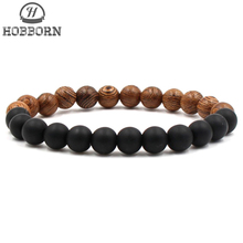 HOBBORN 8mm Handmade DIY Men Bracelet Wood Bead Lava Stone Maix Strand Healing Reiki Prayer Balance Women Bracelets Yoga Jewelry black sabbath black sabbath sabbath bloody sabbath