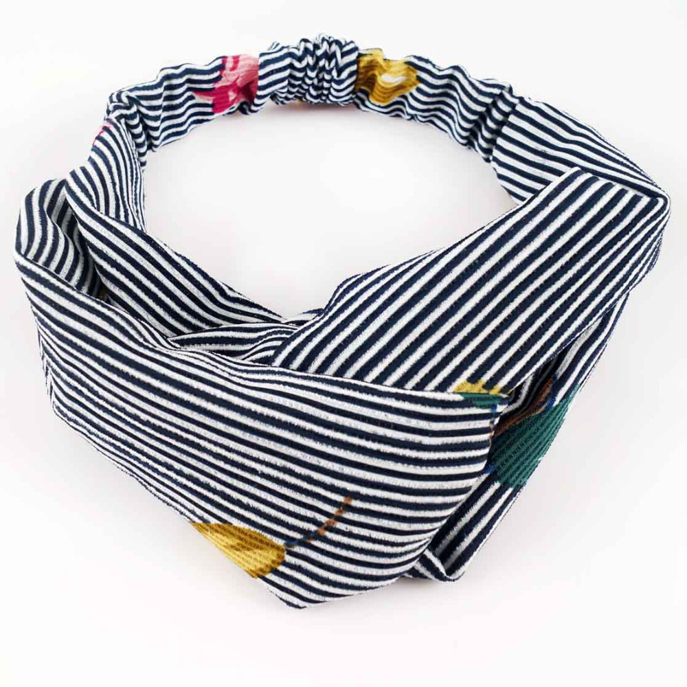 Print Striped Twisted Cross Headband Women High Quality Stre