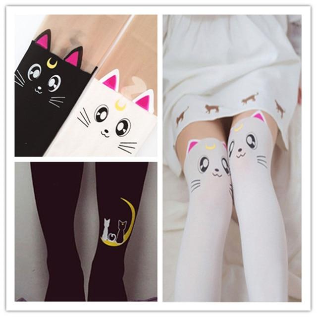 4b7178c4274 Japanese Anime Fake Thigh High Tights Sailor Moon Cosplay 20th Anniversary Luna  Cat Pattern Pantyhose Stockings 2 PAIRS
