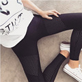 2016 Autumn Leggings Breathable Hollow Patchwork Women leggins Black Leggings High Quality Slim Skinny Fitness Trousers