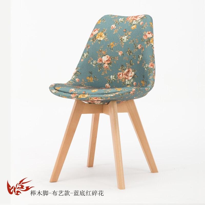 Простой стул Мода нордическая ткань; Массивная древесина обеденный стул кофе отель встречи, чтобы обсудить домашний табурет - Цвет: 17