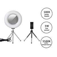 Lamp Ring 4 in 1 LED Desktop Studio Ring Fill Light Dimmable Ring Lamp w/Metal Holder With Acrylic Mirror