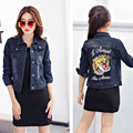 Family look new matching fashion clothing new style wave of embroidery tiger mother and daughter denim jeans jacket clothes