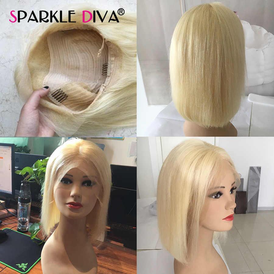 613 блонд парик фронта шнурка бразильские прямые человеческие волосы короткие парики Боба для черных женщин 150% прозрачный парик фронта шнурка Remy