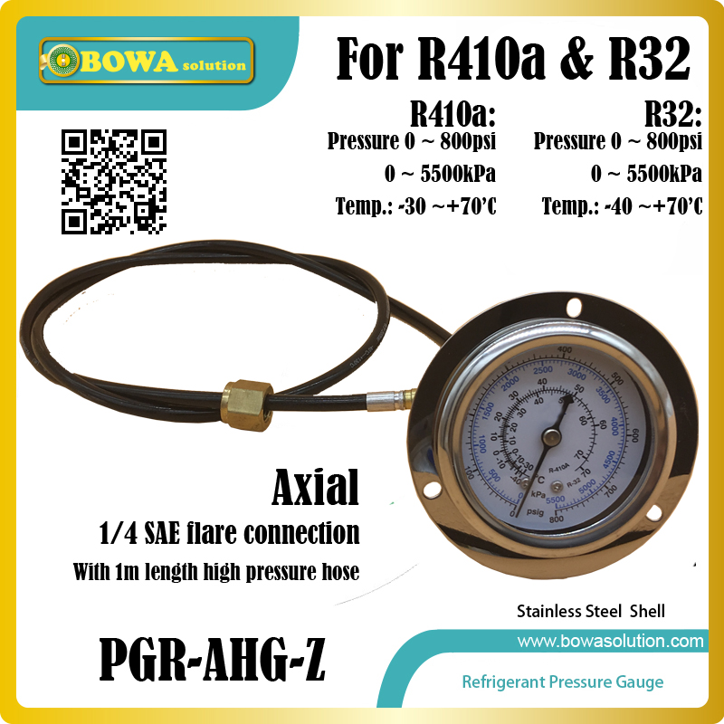 0~800psi R410a stainless steel Pressure Gauge with 1mr length high pressure hose installed in kinds of heat pump equipments