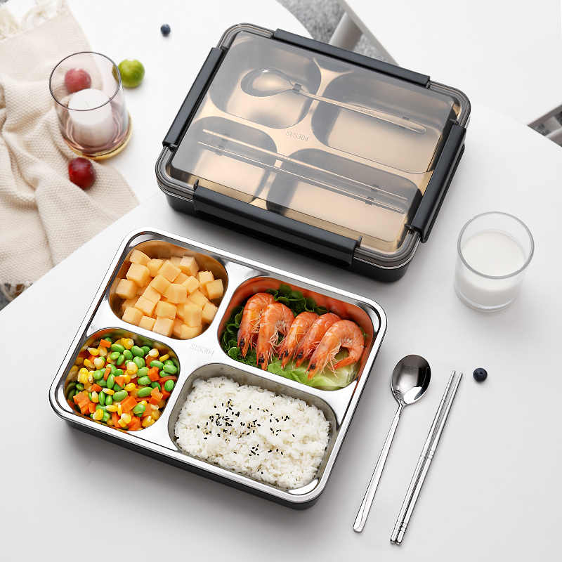 304 Stainless Steel Lunch Box Bento Boxs Leakproof Japanese Food Container Portable Thermos Thermal Students Picnic Tableware